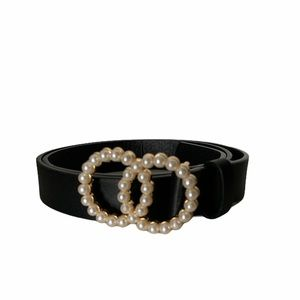 """Black belt with faux pearls size S/M 41"""" long"""